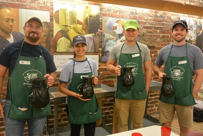 Host volunteers will helped prepare and serve meals to guests at SOME's (So Others Might Eat) Dining Room, sorted donations and assembled food bags.