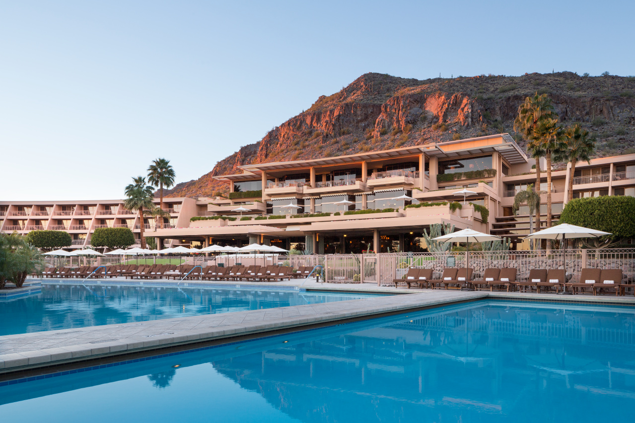 """Building that tiers down to pool area with Camelback Mountain in the background""""Most Commonly Used"""" property view"""