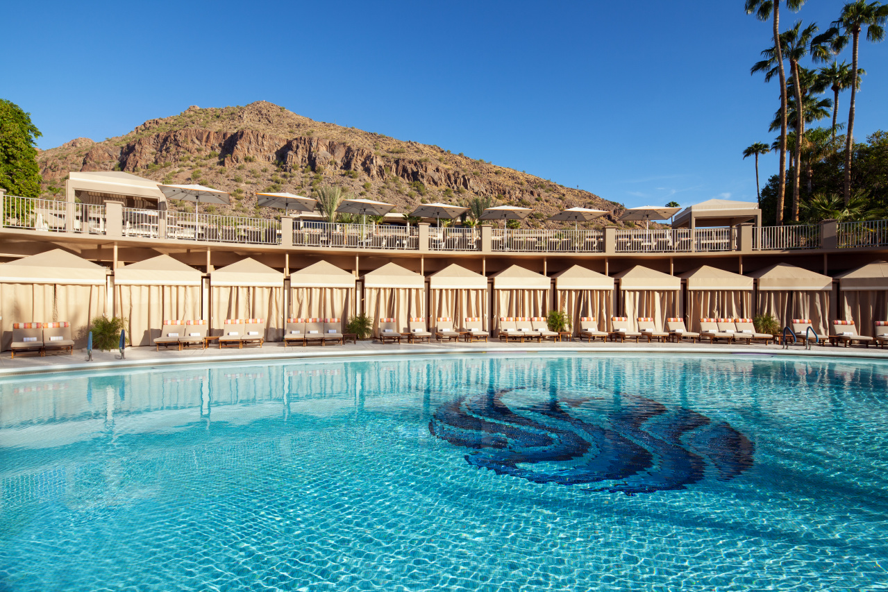 Mother of Pearl Pool with cabanas