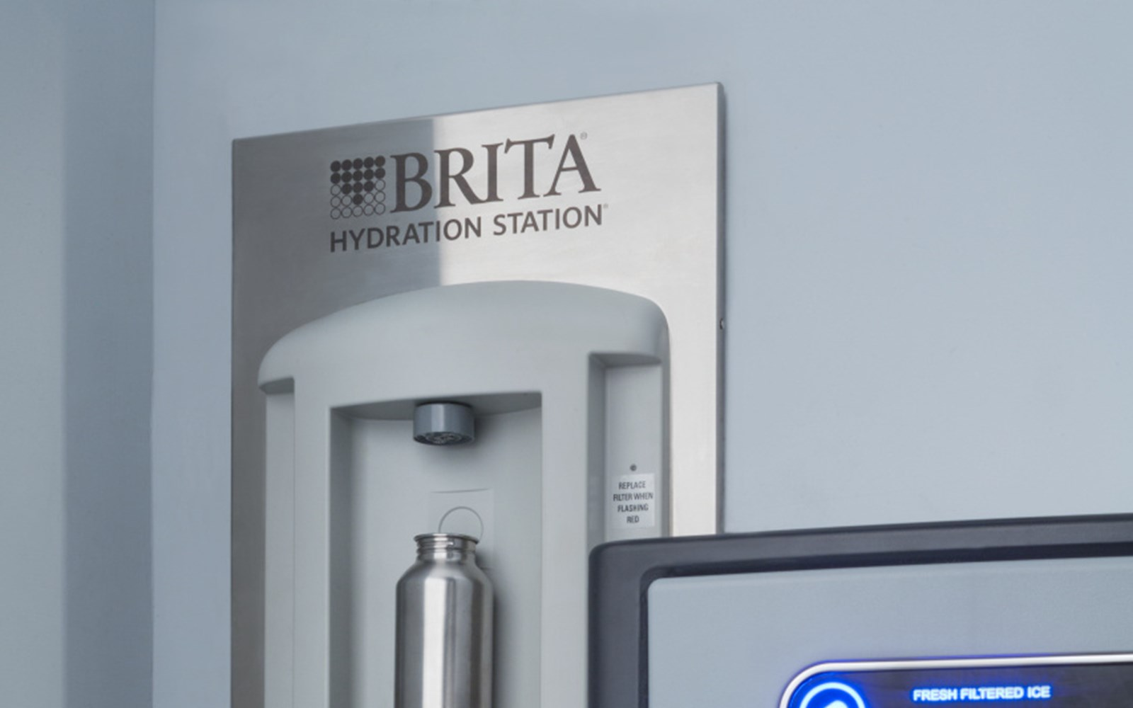 Brita water filtering station and ice makerDo not need to confirm Brita logo usage.