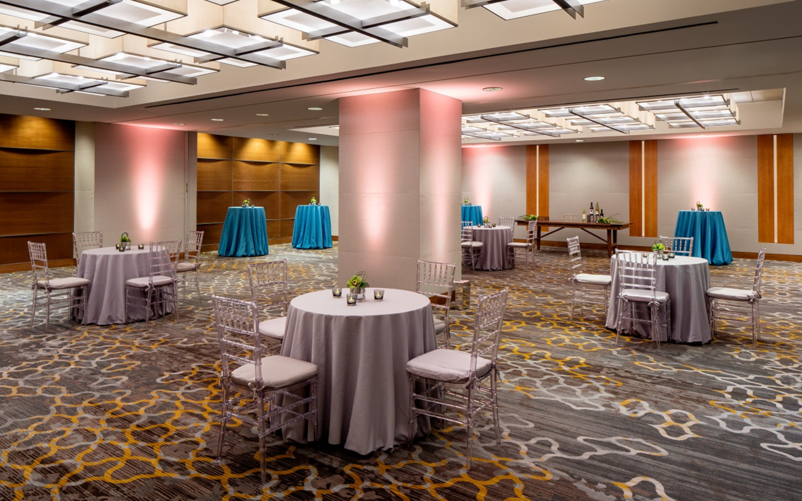 Meeting space in banquet setup