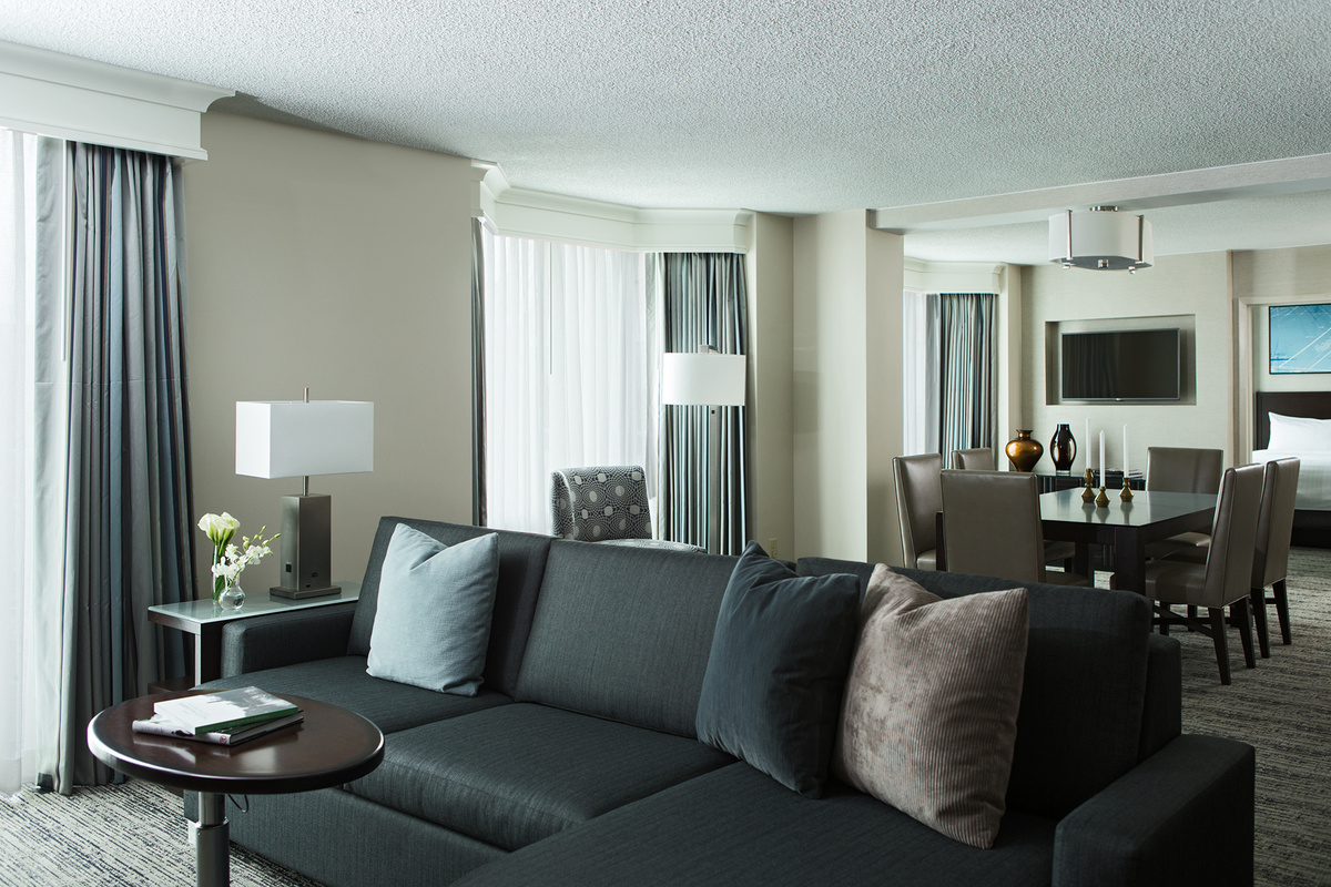 Executive suite living and dining area